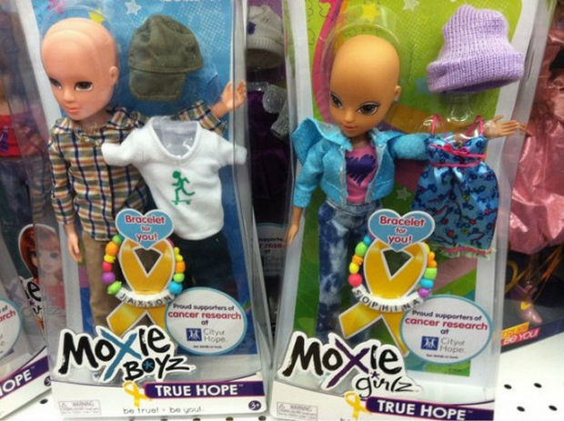 "16 Heartwarming Pictures That Will Warm Your Heart - A company produces ""True Hope"" dolls without hair to support cancer research."