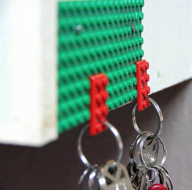 18 Upcycling Ideas - Use LEGO bricks to securely hold and organize your keys.