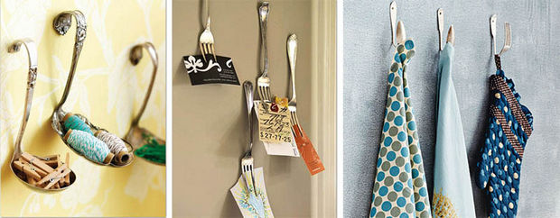 18 Upcycling Ideas - Reuse old utensils as wall hooks.