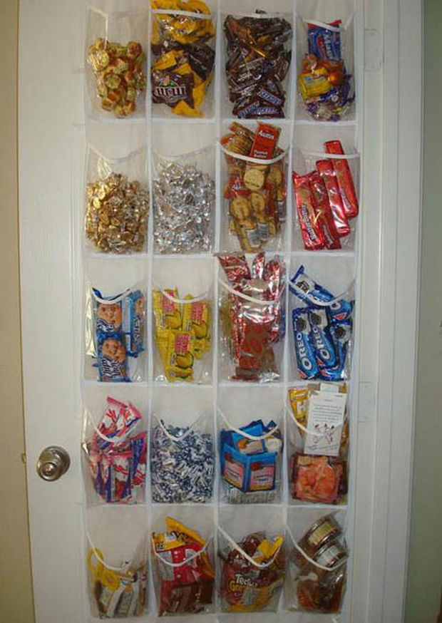 18 Upcycling Ideas - Store food or other items from your pantry in an old door shoe rack.