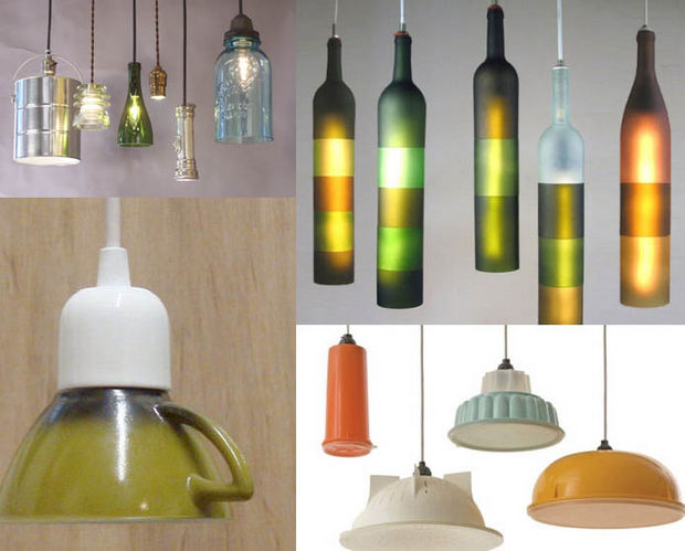 18 Upcycling Ideas - Transform old bottles or cups into unique lighting fixtures.
