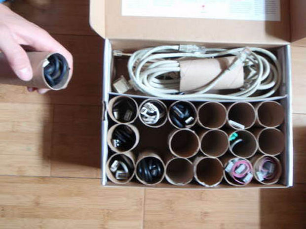 18 Upcycling Ideas - Recycle paper tubes and use them to organize your wires and cables.