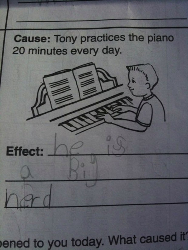 29 Funny Test Answers - Tony practices the piano 20 minutes every day.