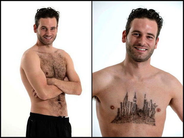 Chest Hair Art by Daniel Johnson - New York City skyline.