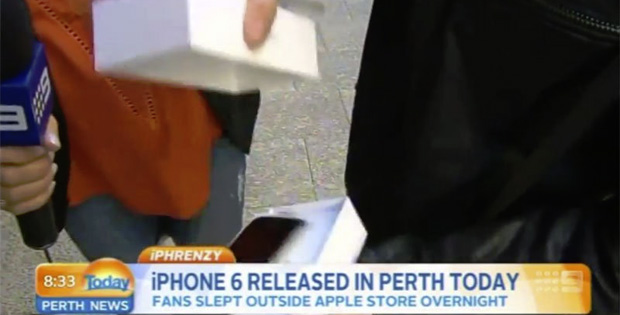 First person to buy an iPhone 6 drops it on live TV