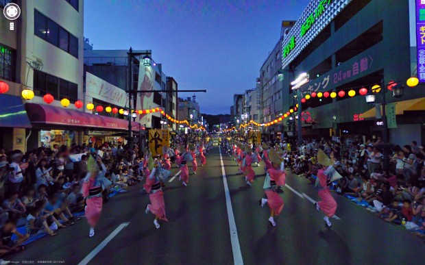 14 funny Google Street View images - Celebrating nightlife at some type of parade or festival.