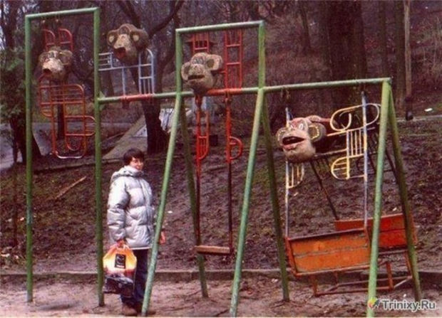 20 Creepy Playgrounds - Somebody thought putting beheaded monkeys would make kids laugh.