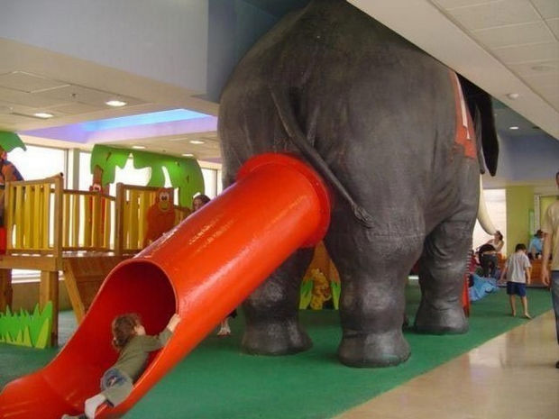 20 Creepy Playgrounds - All kids like to slide out of an elephant's butt.