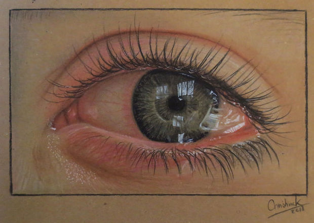 25 Amazingly Realistic Art Paintings - Christina K - Drawing on tinted brown paper.