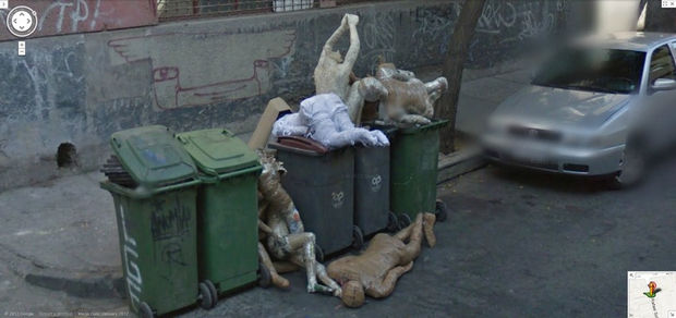 25 Weird Things Found on Google Maps - Yes, those are mannequins in a dumpster and it's still creepy.