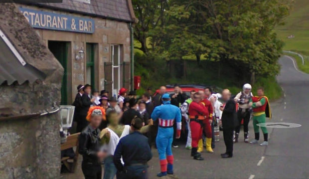 25 Weird Things Found on Google Maps - Is there superhero convention I don't know about.