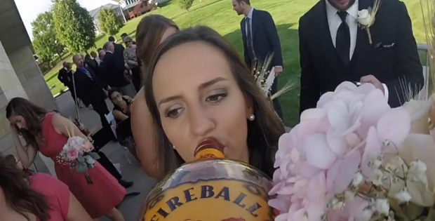 A Wedding + Whiskey Bottle + GoPro Camera = Wedding Fireball Cam!