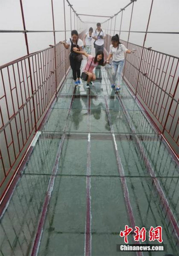 Glass Bridge in China - Almost there, you can do it! This bridge will definitely make you weak in the knees!