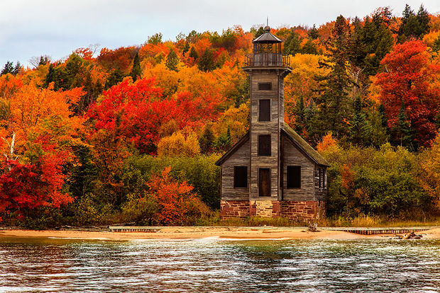 Fall colors at Grand Island East Channel Light House - Michigan, USA.