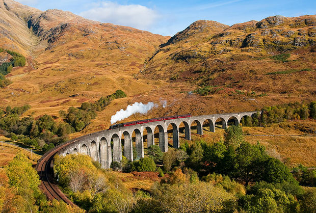 Fall Colors in Glenfinnan Viaduct - Scotland.