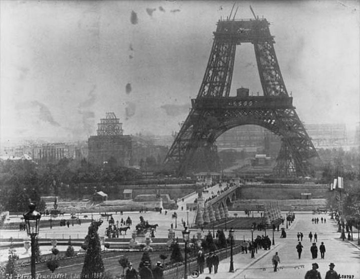Construction of the Eiffel tower in July, 1888.