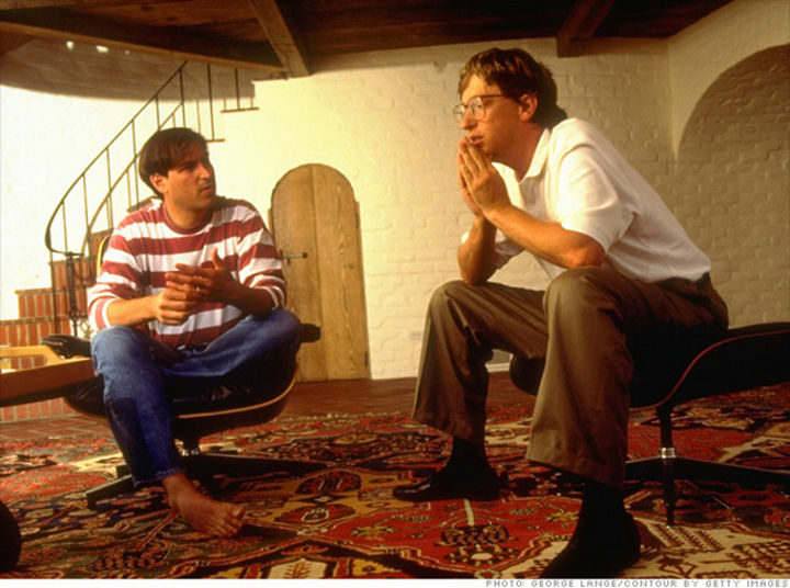Bill Gates discussing the future of PC's with Steve Jobs at the Apple co-founder's home in Palo Alto in 1991.