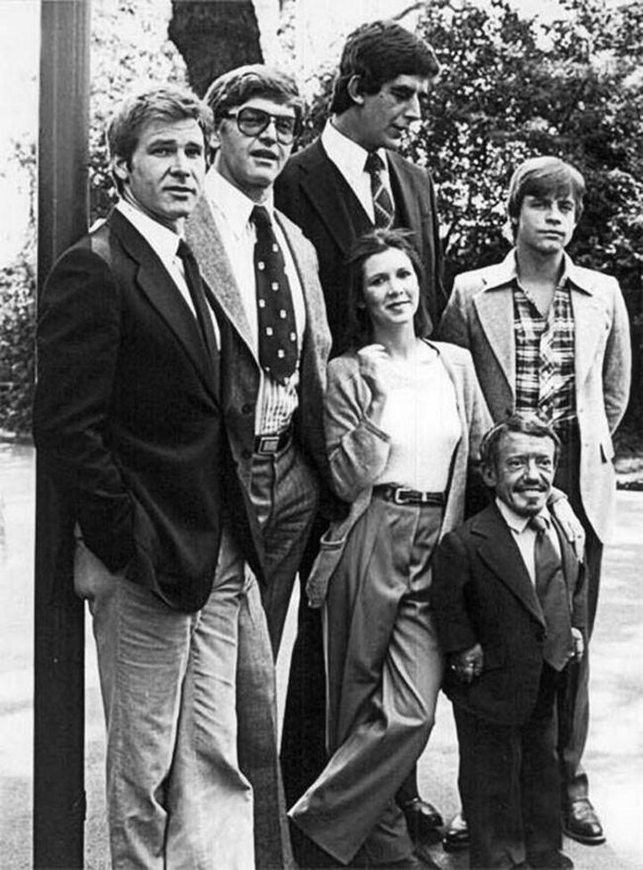 The original Star Wars cast in a group shot before filming their first film, Star Wars Episode IV: A New Hope.