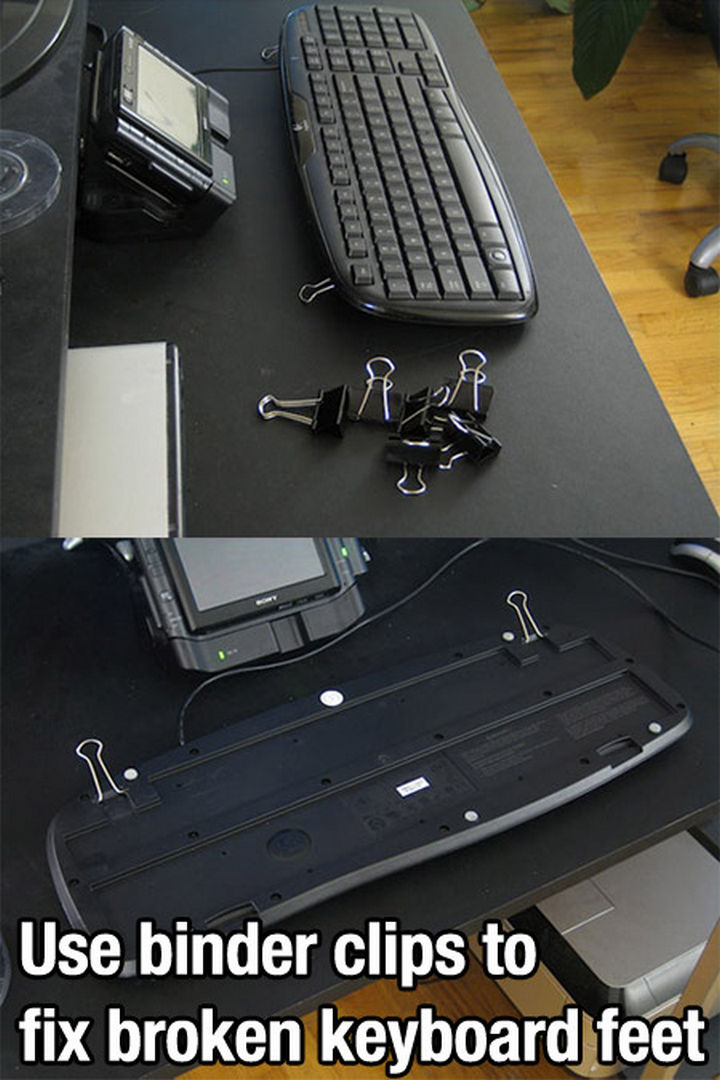 52 Cleaning and Life Hacks - Use binder clips to fix broken keyboard feet.