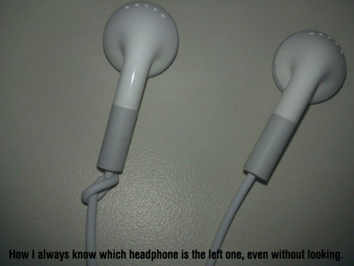 52 Cleaning and Life Hacks - How I always know which headphone is the left one, even without looking.