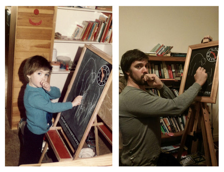 Two Brothers Recreate Childhood Photos for Their Parents Anniversary Present.