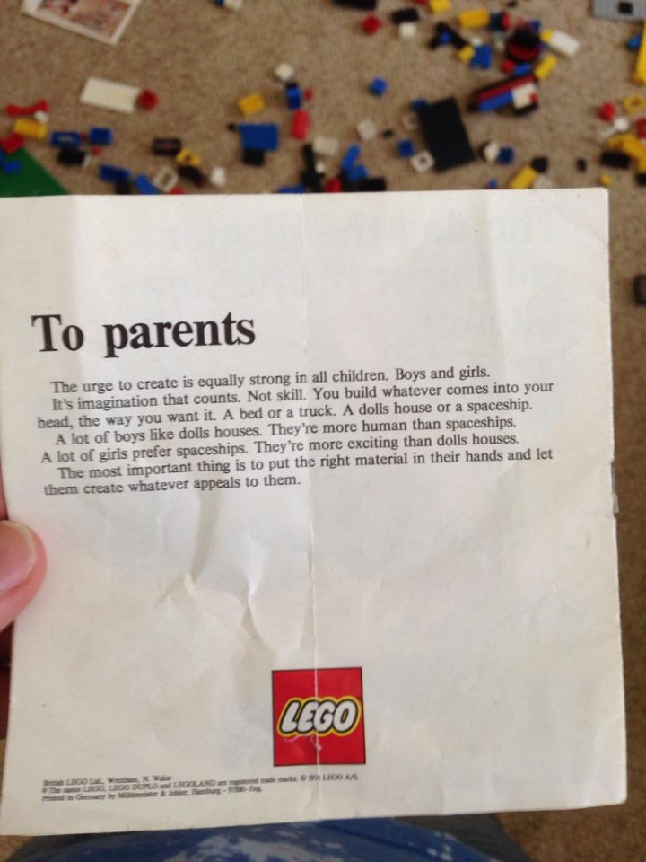 Lego included this letter in doll house play sets in 1974 to encourage boys and girls to build what they want.
