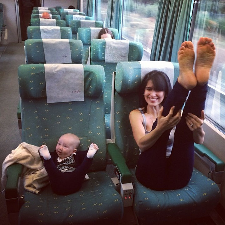 20 Mother and Daughter Pictures - Mother and daughter yoga on the train!