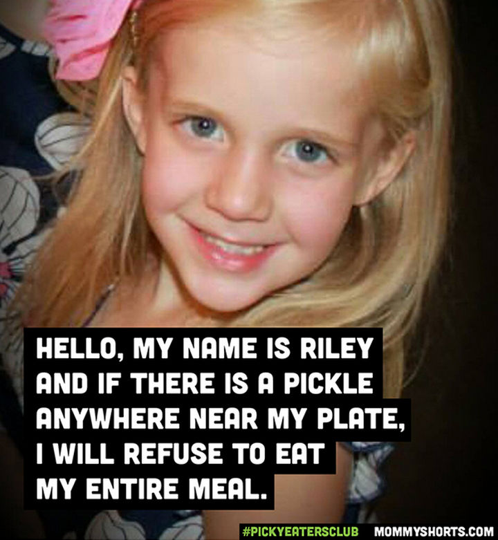 Picky Eaters Club - Hello, my name is Riley...