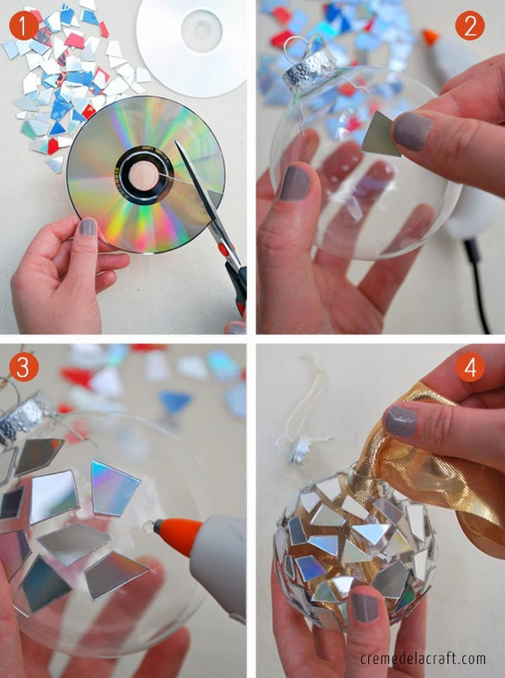 16 DIY Projects Using Old and Scratched CDs - Make DIY tree ornaments with CD pieces.