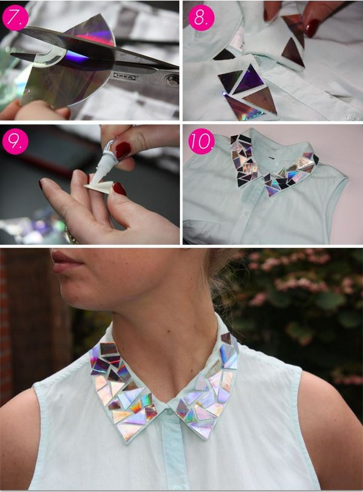 16 DIY Projects Using Old and Scratched CDs - Add an awesome mosaic look to your blouse collar.