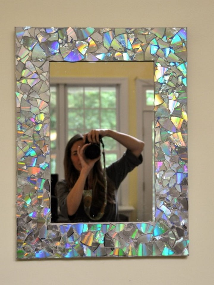 16 diy projects using old and scratched cds create an iridescent mirror frame