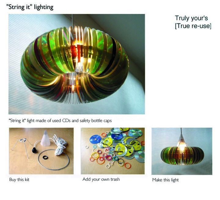 16 DIY Projects Using Old and Scratched CDs - Make this unique lamp with CDs and safety bottle caps.