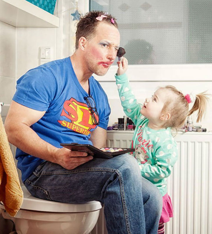 16 Super Dads Are Heroes to Their Kids - This father really is Superdad for becoming a makeup model for his daughter.