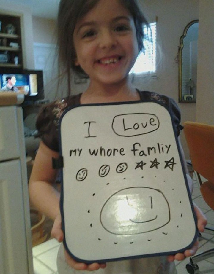 "18 Funny Spelling Mistakes - ""I love my WHOLE family?"""