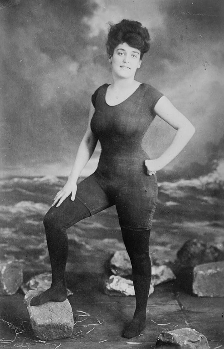 21 Historical Photos - Annette Kellerman, an athlete, and actress, caused a scandal in Boston by wearing a one-piece bathing suit in public. She was arrested for indecent exposure.