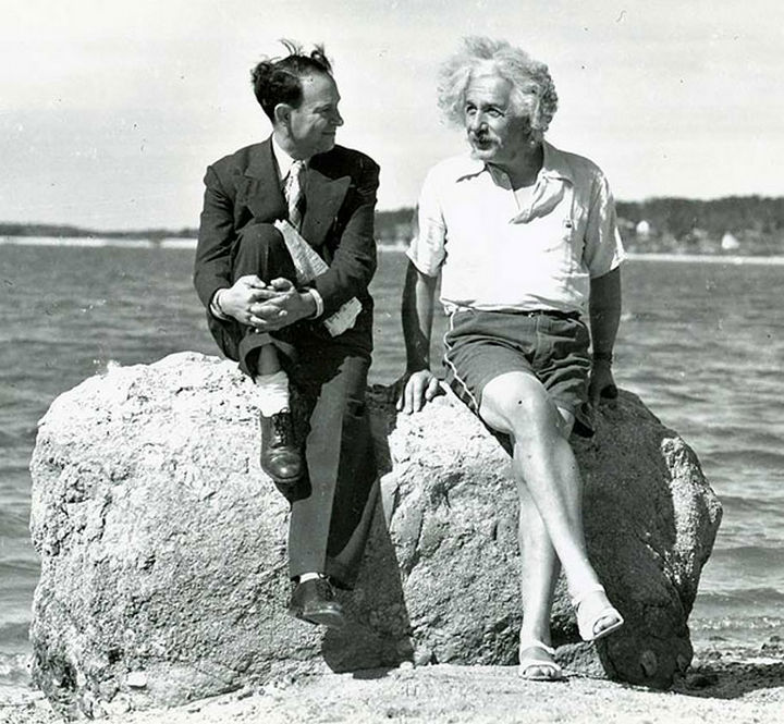 21 Historical Photos - Albert Einstein at Nassau Point, Long Island, NY, 1939.
