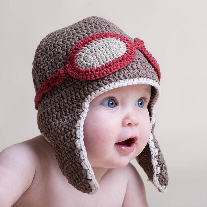 21 Crocheted Winter Hats - Baby Aviator Hat with Goggles.