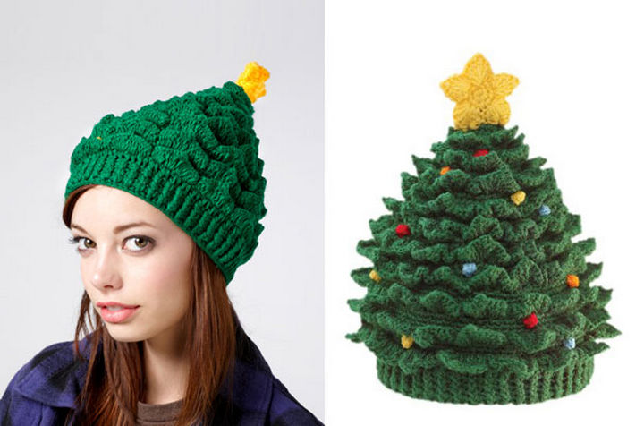 21 Crocheted Winter Hats - Christmas Tree Hat.