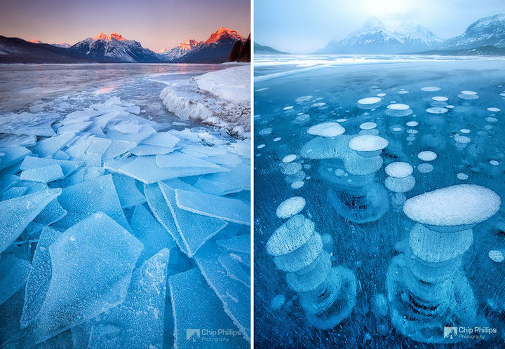 22 Ice and Snow Formations - Amazing glass sheets and frozen bubbles in frozen lakes.