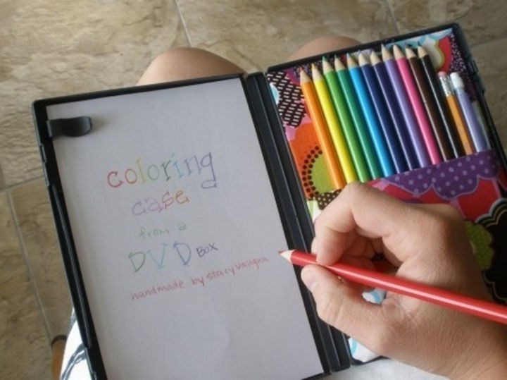 24 Life Hacks for Kids - Make a portable coloring case using an old DVD case.