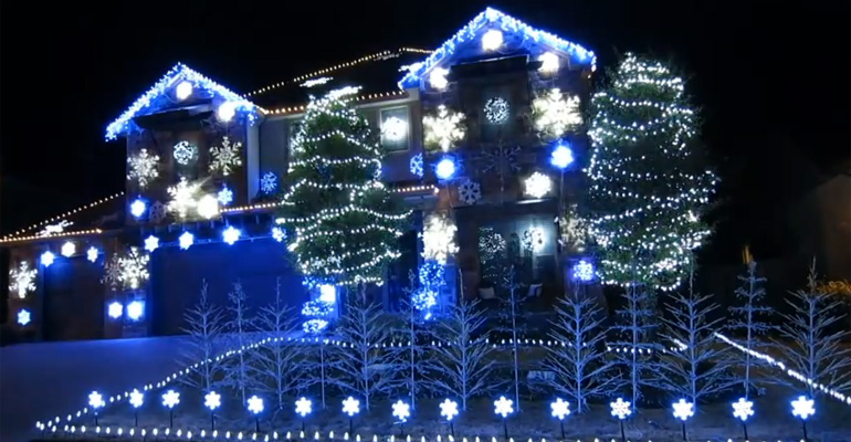 Christmas Light Display Featuring Frozen's 'Let It Go'.