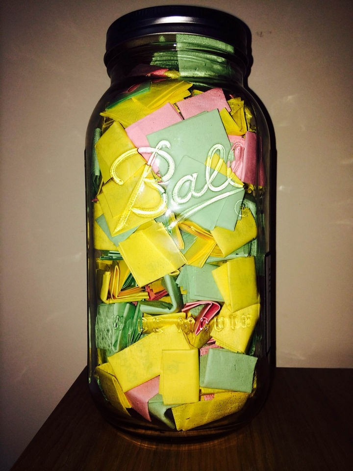 """The """"365 Jar"""" contains 365 notes with memories, uplifting quotes, photos, and personal gifts. Creativity is key and the possibilities are endless."""