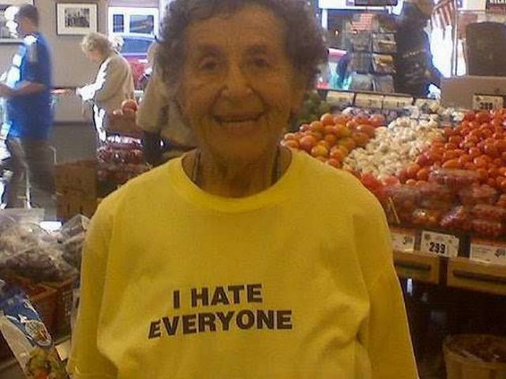 11 Seniors Wearing Funny Shirts - She appears so friendly though.