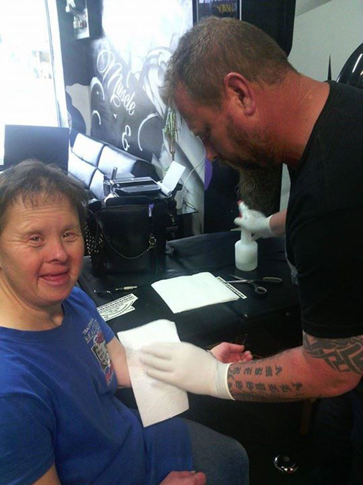 Tattoo Artist Gives Free Tattoo to Woman with Down Syndrome.