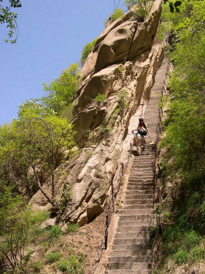 "The base of Mount Huashan is called ""the Heavenly Stairs"" and while safe, lead you to one of the most dangerous trails."