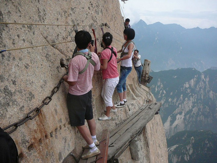 Every year, thousands of tourists hike up the mountain.