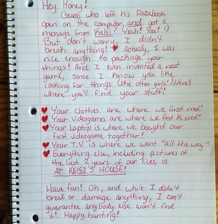 10 Breakup Letters You Won't Believe Are Real - This letter even contains a scavenger hunt to find your old stuff!