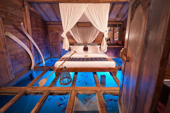 12 Amazingly Cool Hotels - Udang House with Tempered Glass Floor, Bali, Indonesia.