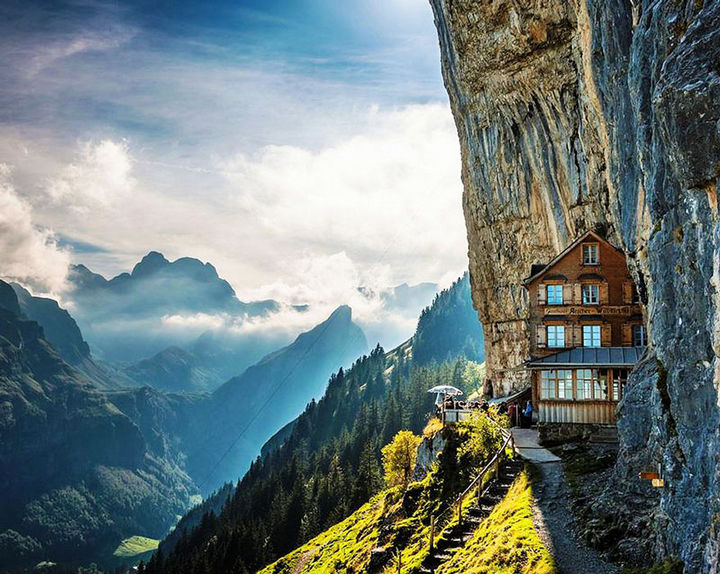 12 Amazingly Cool Hotels - Äscher Cliff Restaurant, Switzerland.