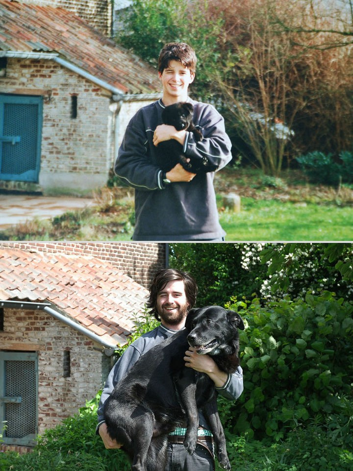 24 Before and After Photos of Pets and Their Humans - 10 year difference.